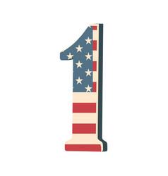 capital 3d number one with american flag texture vector image
