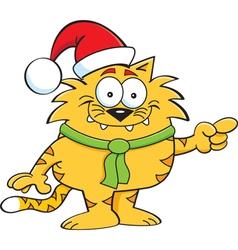 Cartoon cat santa vector