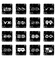 Check mark set icons grunge style vector image