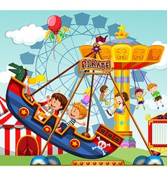 Children riding on rides at the funfair vector