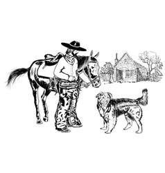 Cowboy and friend vector