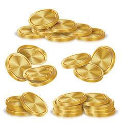 Gold coins stacks golden finance icons vector