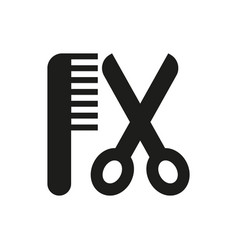 hair salon with scissors and comb icon vector image vector image
