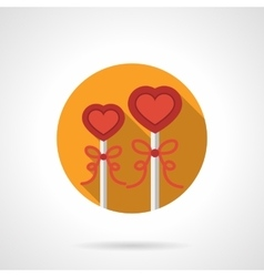Heart shape lollipops round flat icon vector image