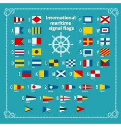 International maritime signal flags sea alphabet vector