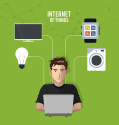 Internet things man working laptop network vector