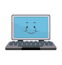 Kawaii laptop computer technology cartoon vector