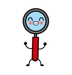 magnifying glass symbol cute kawaii cartoon vector image