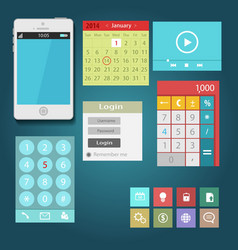 Mobile app flat interface easy-edit vector