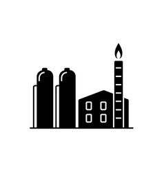 natural gas plant silhouette icon in flat style vector image