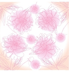 Pink background with peony vector