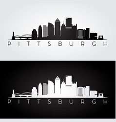 pittsburgh usa skyline and landmarks silhouette vector image