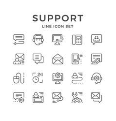 set line icons of support vector image