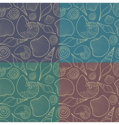 Set of seamless patterns with shells vector image vector image
