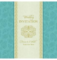 Turkish cucumber wedding invitation gold and blue vector image