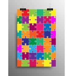 Vertical poster a4 puzzle pieces color puzzles vector