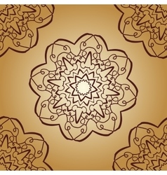 Vintage mandala pattern retro brown color vector