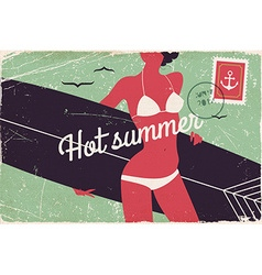 Vintage surf girl poster vector