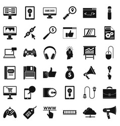 Web page icons set simple style vector