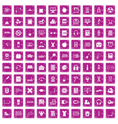 100 learning kids icons set grunge pink vector image vector image