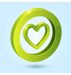 Green heart symbol isolated on blue background vector image