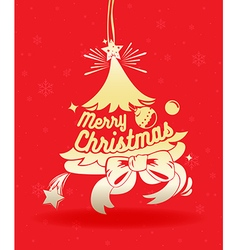 Merry christmas greeting card on red vector