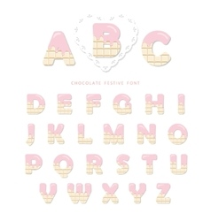 Pink cream melted on white chocolate decorative vector