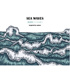 Hand drawn sea waves marine background in line vector