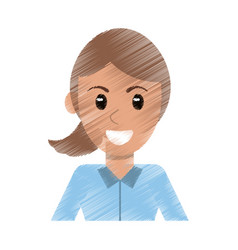 Drawing portrait woman avatar vector