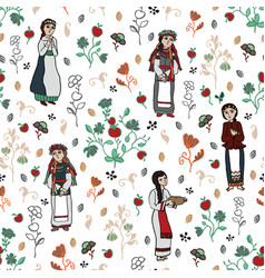 Slavic girls and floral background vector