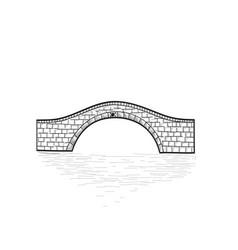 Small stone bridge sign isolated engraving retro vector
