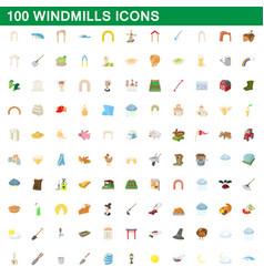 100 windmills icons set cartoon style vector