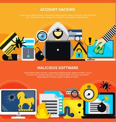 account hacking horizontal banners vector image