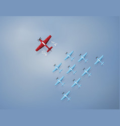 Concept of leadership and team work with plane vector