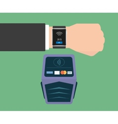 Payment via smart wristwatch vector