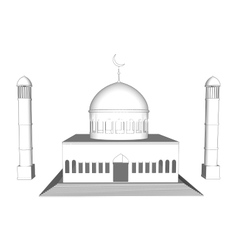 3d mosque silhouette in night sky with vector image