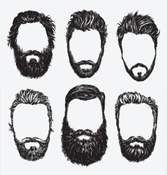 Hipster hair and beard set vector