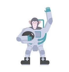Monkey astronaut waving hand Animal suit keeps vector image