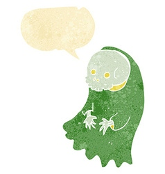 Cartoon spooky ghoul with speech bubble vector