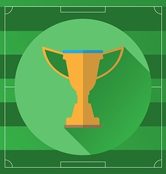 Football championship gold cup on game field vector