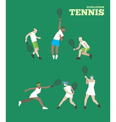 Tennis figure peoples with tennis racket set vector