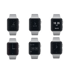 Set of electronic smart watches with different vector image