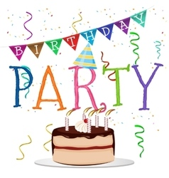 Birthday party word with colored confetti vector