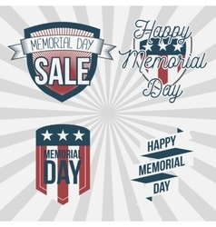 Memorial day patriotic labels set vector
