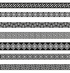 Old greek border designs set vector