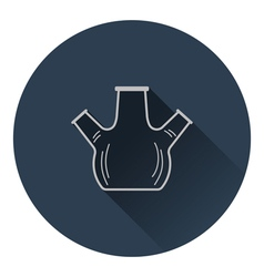 Icon of chemistry round bottom flask with triple vector