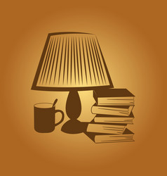 Abstract image the lamp with a book and a cup vector