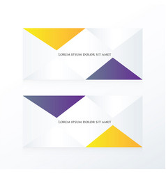 Abstract pyramid banner purple yellow vector