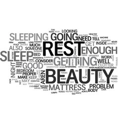 Beauty rest text word cloud concept vector