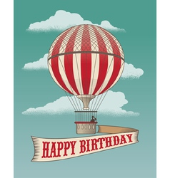 Birthday greeting card - Air balloon vector image